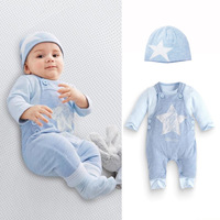 3pcs Set Cute Newborn Girls Boys Clothes Baby Outfit Clothing Infant Jumpsuit Romper Clothes Hat 0