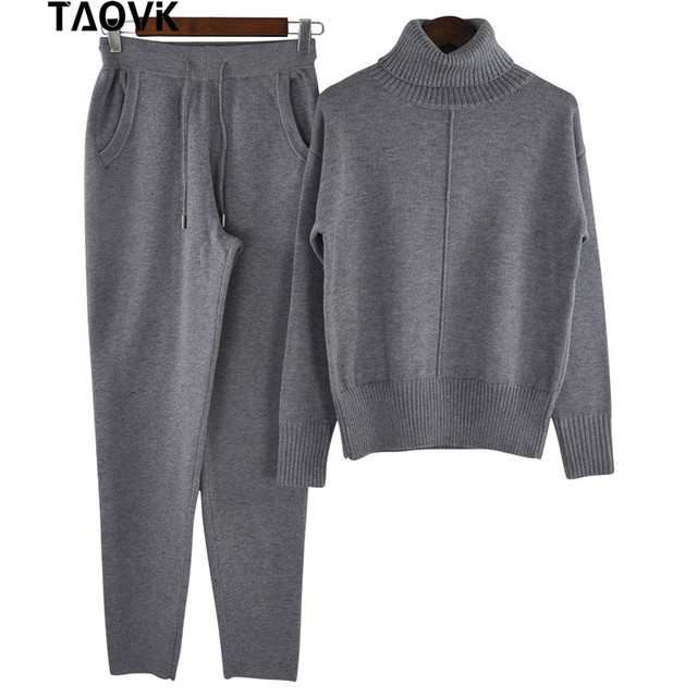 TAOVK Winter Woolen and Cashmere Knitted Warm Suit High Collar Sweater + Mink Cashmere Pants Loose Style Two-piece Set Knit 3