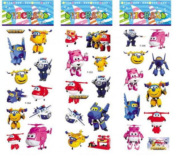6pcs /set Super Wings Stickers For Kids Home Decor On Laptop Cute Car Sticker Decal Fridge Doodle Toy Superwings 3D Stickers