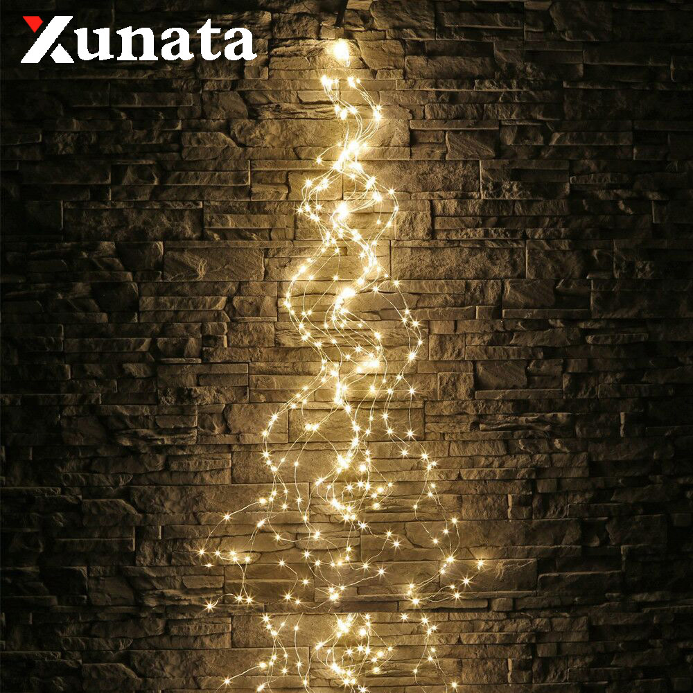 3Mx10 300LED String Solar Lights LED Vines Branch Fairy Light 200LED 360LED Outdoor String Light Garden Fence Tree Holiday Decor