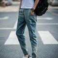 2016 New Arrival Men Jeans Low Crotch Cotton Fashion Blue Color Fashion Baggy Hip Hop Jeans Ripped Harem Jeans