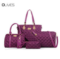 OLIVES 2018 New Style 6pcs Per Set Composite Bag Nylon Women Designer Handbags High Quality Shoulder Bags and Purse Key Holder
