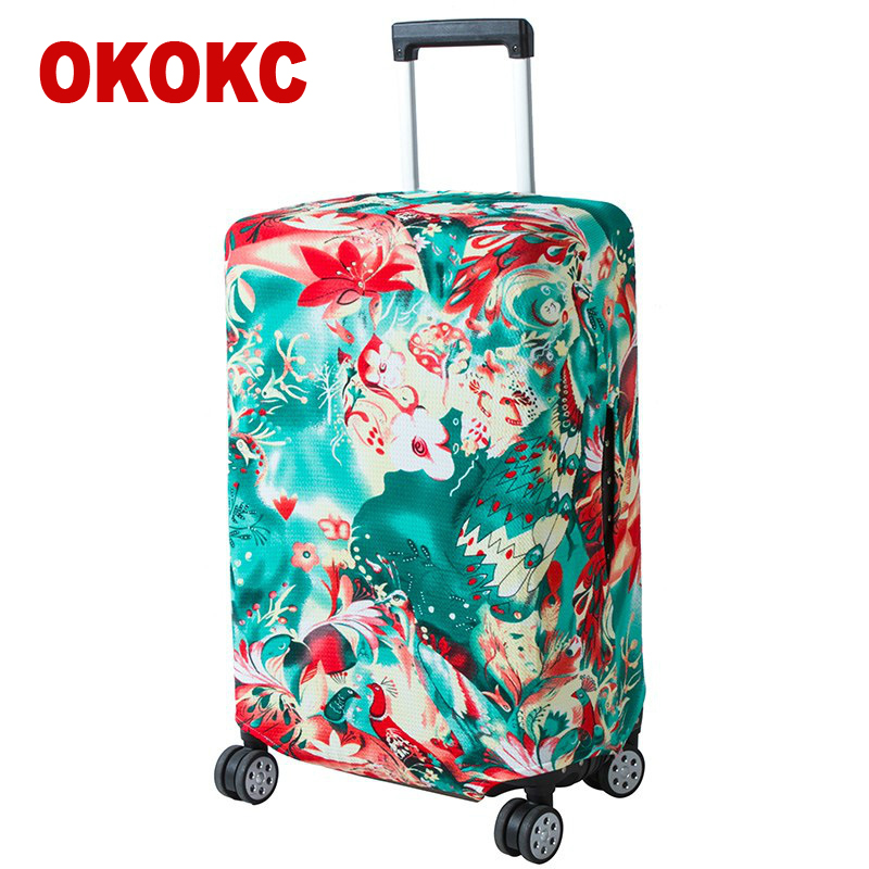 OKOKC Thin Flowers Printing Luggage Protective Cover Travel Suitcase,Dust Zipper Cover Elastic Waterproof Accessories Covers