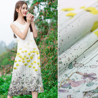 140cm wide 12mm silk linen fabric elegant ginkgo inkjet silk fabric silkworm silk fabric clothing fabric