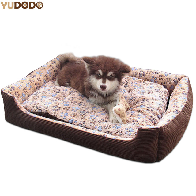 d5c3628994cf Warm Fleece Sleeping Bed For Large Dogs Paw Print Waterproof Cotton Padded  Soft Sofa Cushion Washable