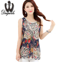Dingaozlz Sexy Embroidery Blouse Plus Size Women Printed Shirt Summer High Quality Women Tops Casual Lace