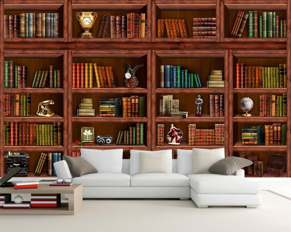Woonkamer Met Boekenkast : Beibehang aangepaste behang woonkamer boekenkast boekenkast 3d