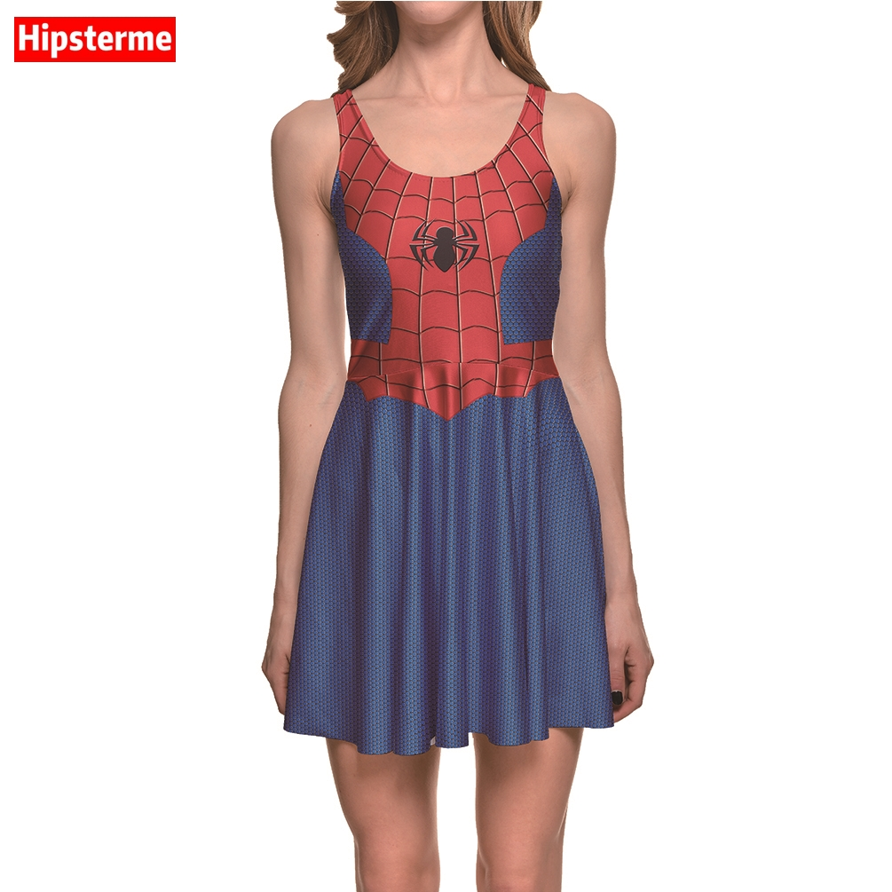Hipsterme New Arrival Summer Womens Dress Intersting Marvel Comics Anime Spiderman Grid 3D Print Plus Size women clothing