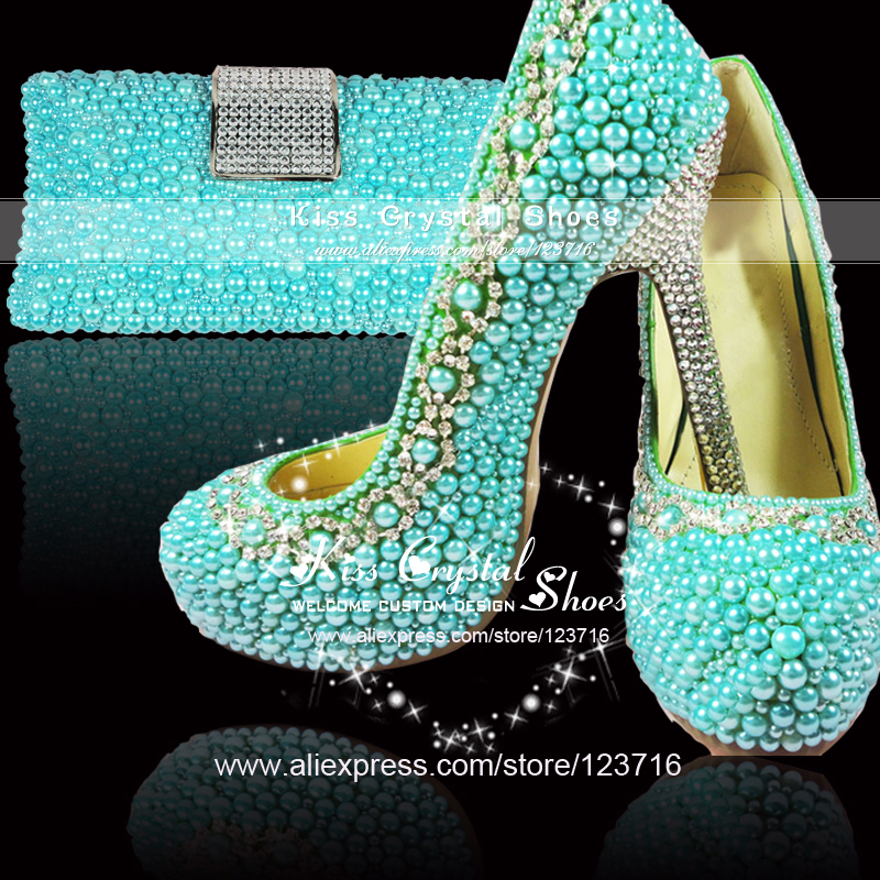 Ladies High Heel Handmade Fashion Teal Blue Wedding Shoes And Clutch Bag Set In Womens Pumps From On Aliexpress