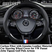 1pc SEEYULE Sporty Car Steering Wheel Cover Protector Carbon Fiber Genuine Leather for VW Passat Jetta Tiguan Golf Polo Arteon
