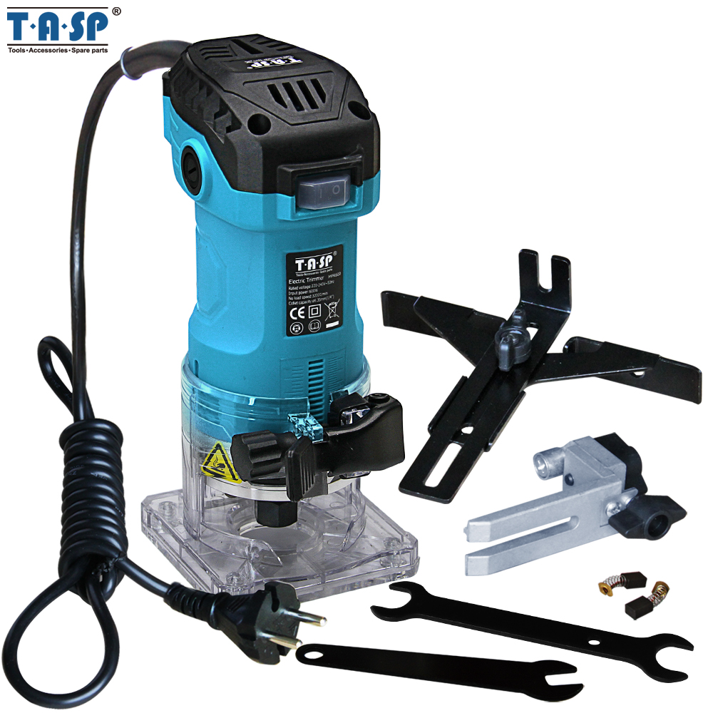TASP 600W Electric Laminate Edge Trimmer Mini Wood Router 6.35mm Collet Carving Machine Carpentry Woodworking Power Tools Борода