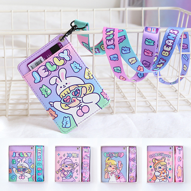 Cartoon Girls Leather Card Holder Purse Funny Print Neck Hanging Credit Card Purse Student Bus Card Cover Money Wallet image