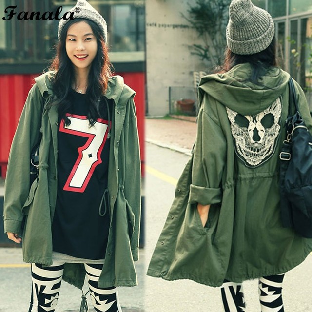 2018 Women Coat Back Skull Army Green Loose Hooded Trench Coats Single Breasted Long Casual Solid Color Outerwear