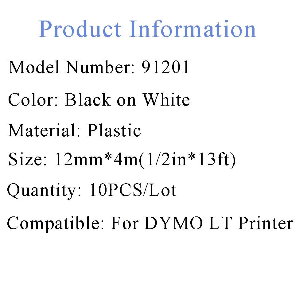 Fitas para Impressora unistar 10 pcs para dymo Cor : Black on White