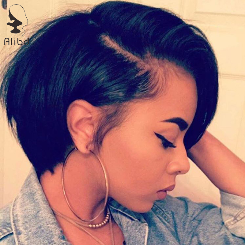 Alibd Lace Front Bob Wig Brazilian Human Hair Straight Short Bob Wig Remy Hair Natural Color Lace Wigs For Black Women 8-14″