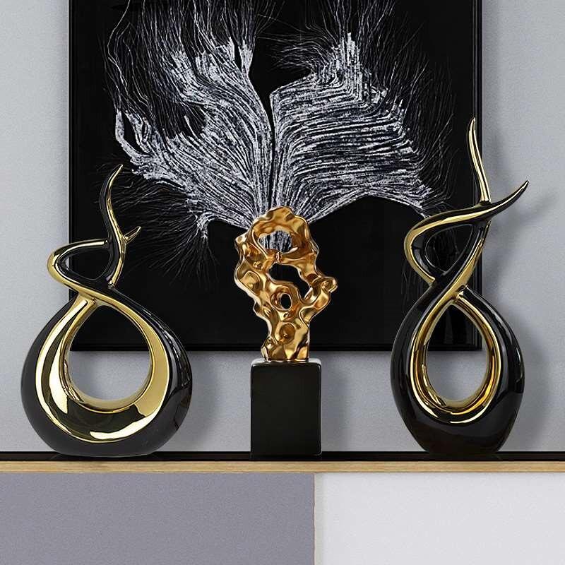 Life Path Black Gold Ornaments Creative Living Room TV Wine Cabinet Modern Ceramic Home Decorations Ceramic