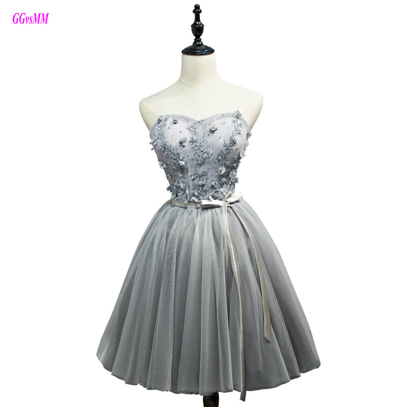 Glamorous Silver   Cocktail     Dresses   2019 New Sexy Sweetheart Tulle Appliques Lace-Up Prom Party Gown Short Formal Homecoming   Dress