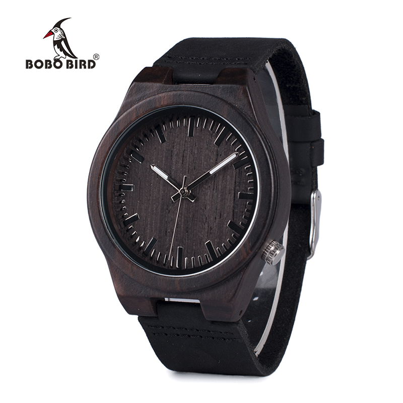 BOBO BIRD WB12 ерлер асимметриялы дизайны Ebony Wooden Watches with Soft Leather Band with Gift Box as Gift Dropshipping Accept OEM