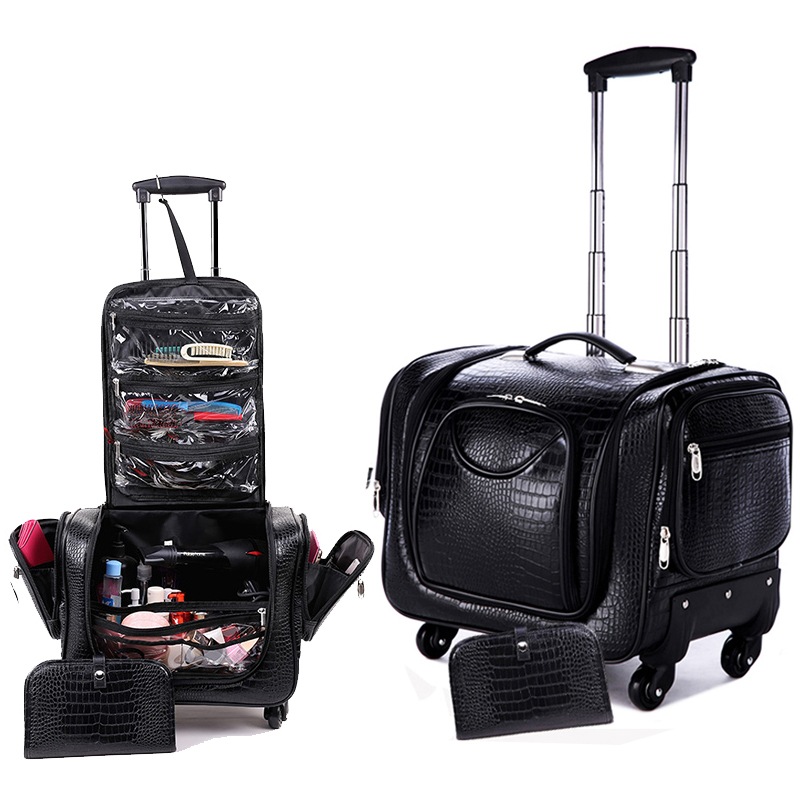 Toolkit-Bag Suitcase Rolling-Luggage Nail-Beauty-Trolley Spinner On-Wheel Girl Brand