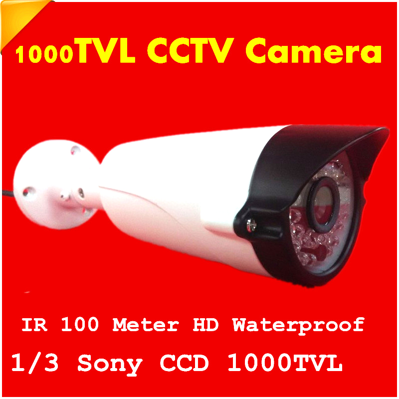 1/3 1000TVL Waterproof Outdoor Security Camera Surveillance IR 100 meter CCTV Camera SONY CCD HD Free shipping