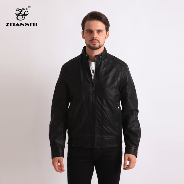 642fe2273 US $120.0 |High Quality New Design Young And Fashion Men Motorcycle Black  PU Washed Leather Jacket Coats Rib Bottom Free Shipping-in Faux Leather ...
