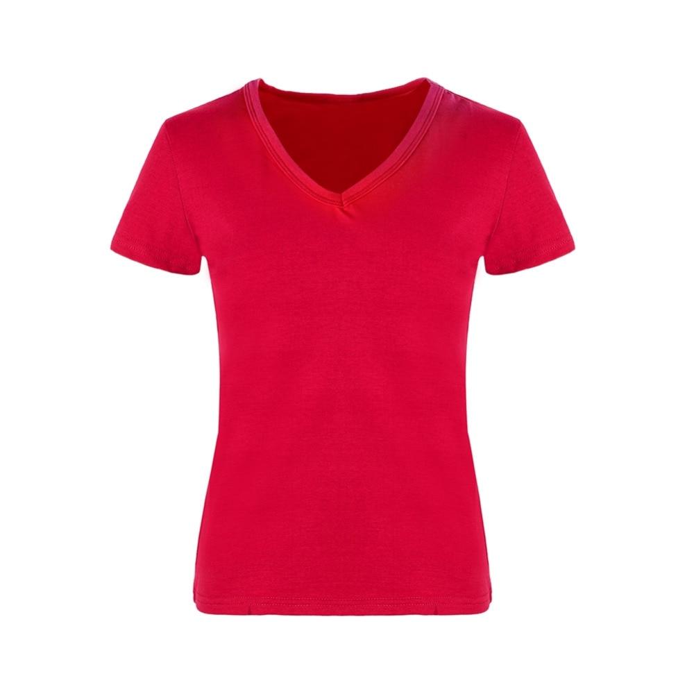 Plain black t shirt quality - High Quality V Neck Red Black Color Cotton Basic T Shirt Women Plain Simple