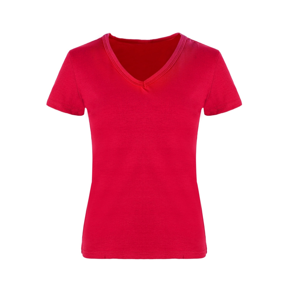 Good quality black t shirt - High Quality V Neck Red Black Color Cotton Basic T Shirt Women Plain Simple
