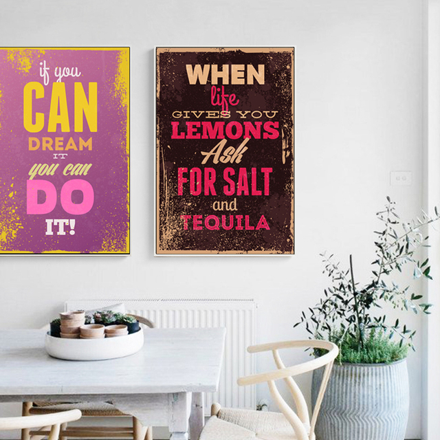 Vintage English Phrase Inspirational Poster Painting Art Canvas Print Life Motto Inspiring Modern Home Living Room