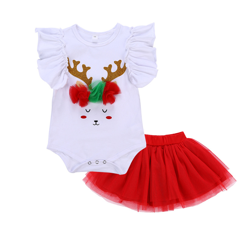 Children Clothing Newborn Baby Romper+Tutu Skirt Outfits Christmas Reindeer Print Clothing Set Infant Girls Clothes D0951 girls eyes print romper
