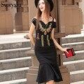 2017 Высокое Качество Нового Весна Лето Русалка Long Dress женская Золотая Линия Вышивка Ногтей Шарик Сексуальная Пакет Ягодицы Черный Dress