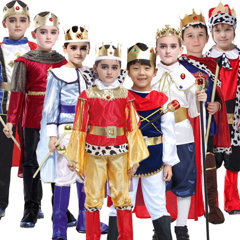 King With Cloak Shoes Belt Prince King Crown Cosplay Costume Birthday Party Gift Children Boys Halloween Christmas Cosplay
