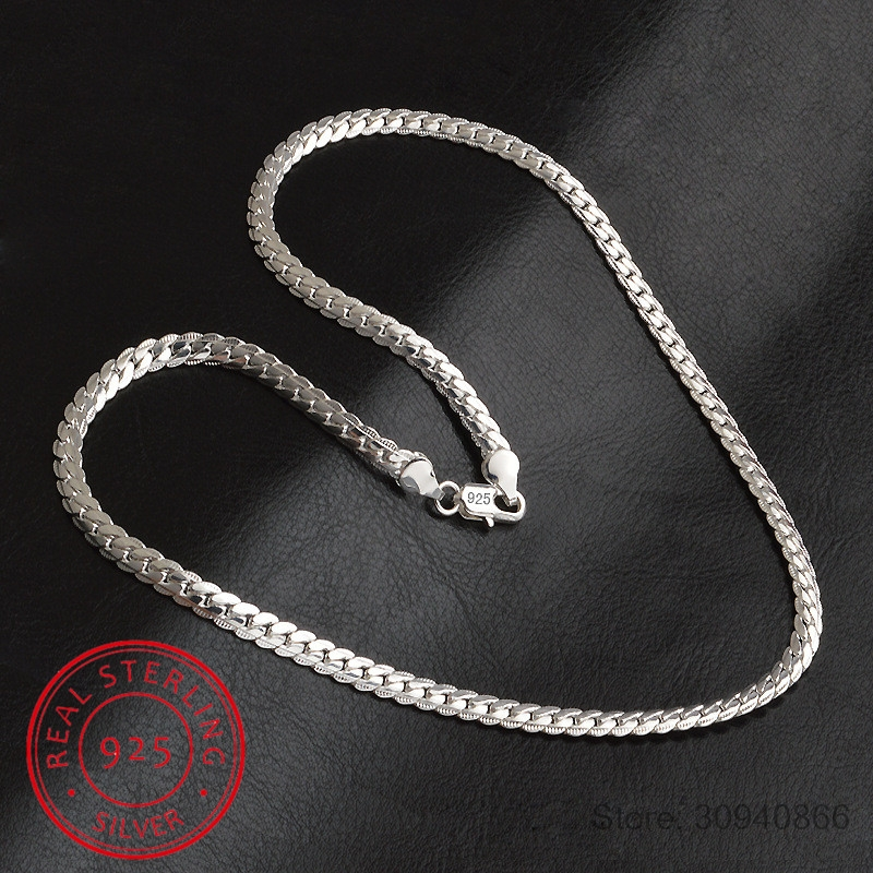2019 New 5mm Fashion Chain 925 Sterling Silver Necklace Pendant Men Jewelry Hot Sale Full Side Necklace