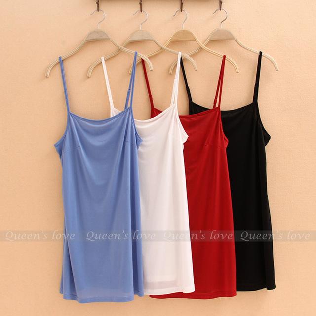 Limitada Nova Petticoat Dentro Do Passeio Meninas Seção Longo Fino Moda Modal Camisole Vestido de Verão Cor Sólida Camisa A061