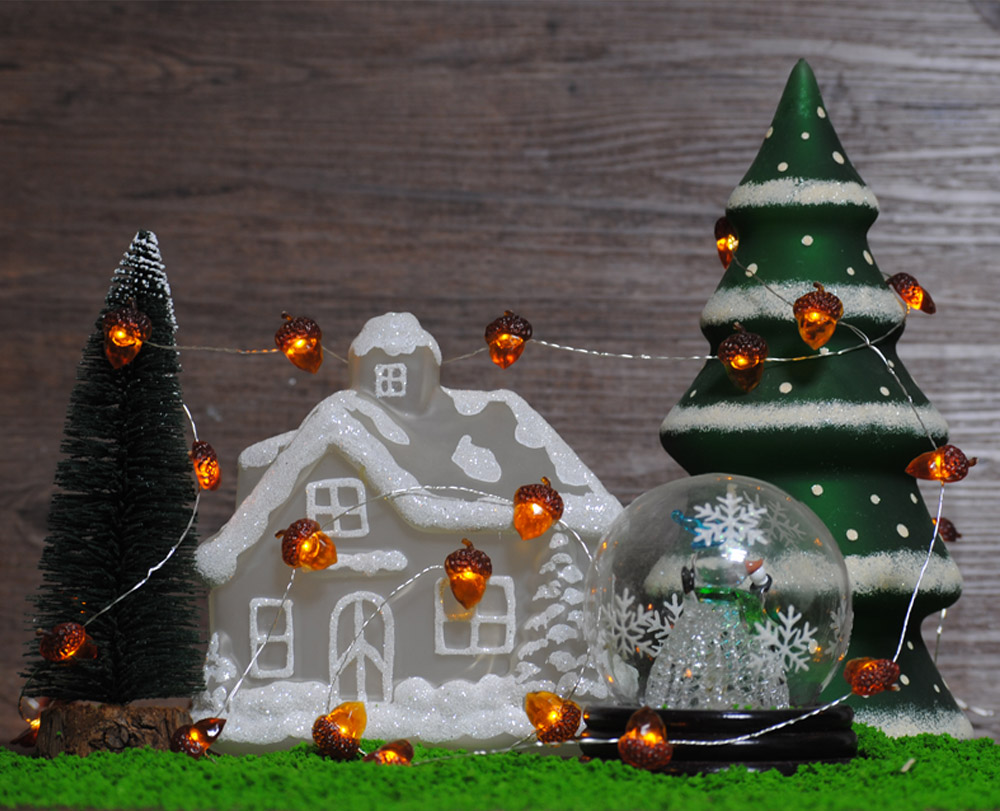 acorn led string lights battery 10 ft copper wire dimmer remote control christmas tree fairy fall thanksgiving home decorations in lighting strings from - Remote Control Christmas Tree