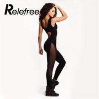 Relefree Atletik giyim Siyah kadın Spor Siyam Yoga Seti Egzersiz Gym Fitness Tayt Tulum