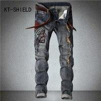 Plus size biker strappato denim jeans stampato uomo sportivo Hip hop harem pants hombre Cargo pantaloni jeans di calca masculina