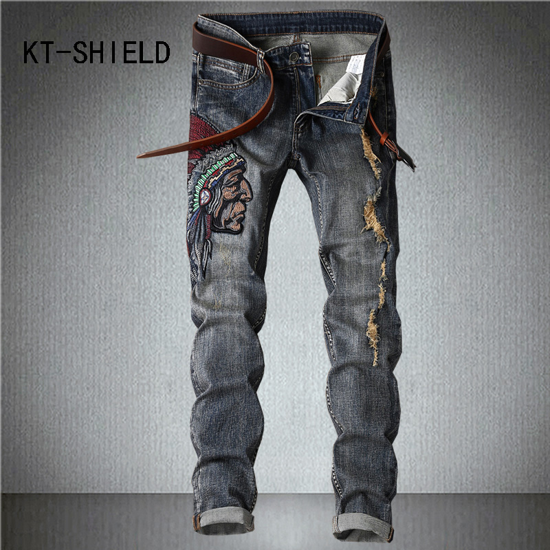 Plus size biker ripped denim jeans printed mens casual Hip hop harem pants hombre Cargo trousers calca jeans masculina ripped distressed jean hombre slim fit denim overalls fashion mens biker casual hip hop long trousers calca jeans masculina