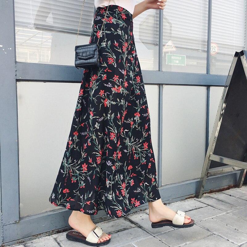 Japanese Womens Long Skirt Summer Vintage Boho Evening Party Beach Skirt High Waist Floral Print Split Wrap Maxi Skirt Cover up