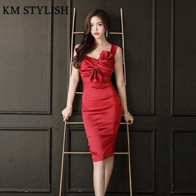 2018 New Korean Lady Elegant Tube Top Bow Red Knee-Length Satin Dress Slim  Strap Halter Bag Hip Party Formal Dress Female 341336242c12