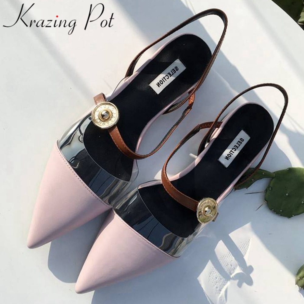 Krazing pot genuine leather mixed colors pretty girls low heels popular pointed toe slip on hollow