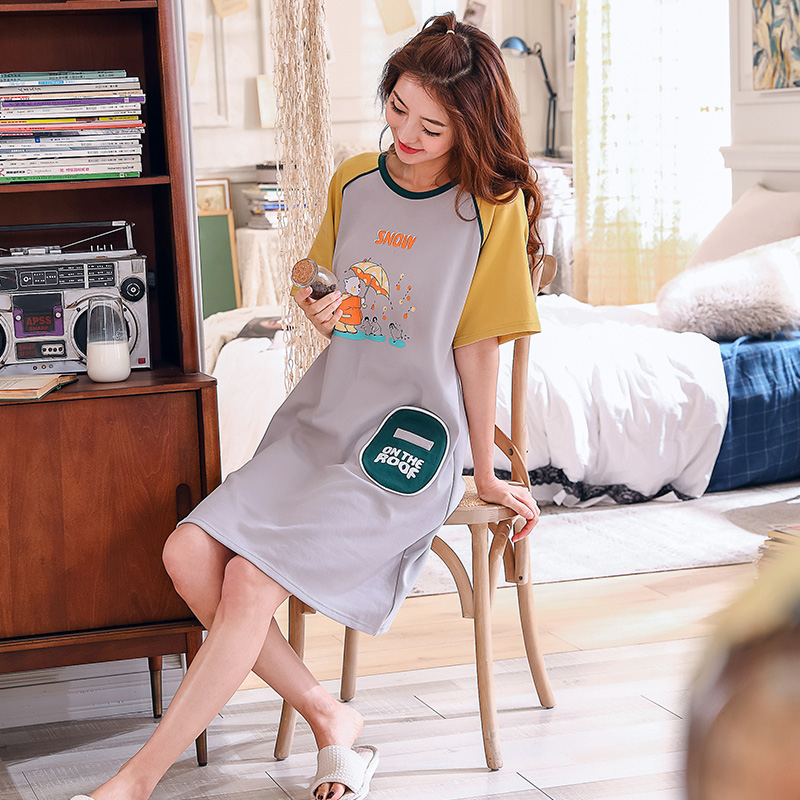 Nightdress Female Cotton   Nightgown   Women Printed Fashion Short Sleeve   Sleepshirts   Sexy Ladies Cute Letter Casual Homewear
