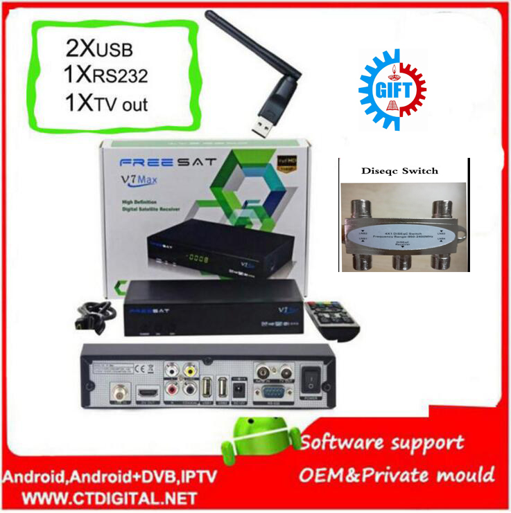 FREE SAT V7 MAX 5pcs usb wifi Satellite Receiver 1080P FULL HD DVB-S2 Support Ccam Powervu Free sat V7 HD Free Shipping hellobox gsky v7 5pcs hd powervu autoroll iks ccam dvb s2 receiver tv box better than freesat support tandberg patch