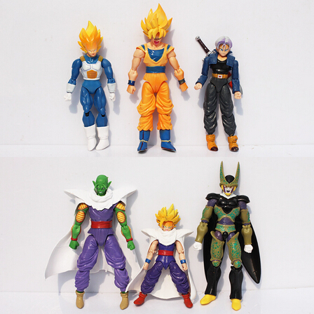 Us 1669 20 Off6pcsset Anime Cartoon Dragonball Z Dragon Ball Goku Super Saiyan Joint Movable Action Figure Toy 15cm Approx In Action Toy