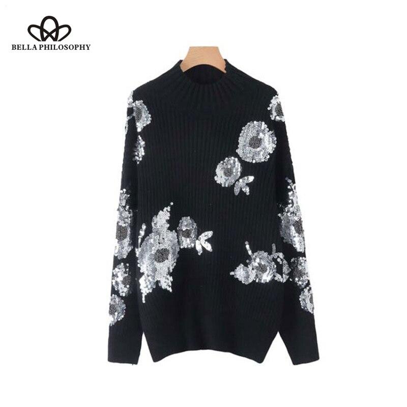 Bella philosophie 2019 printemps solide paillettes femmes chandail lâche tricoté floral à manches longues extensible pulls femme rétro hauts