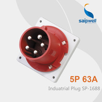 Saipwell 2014 63a 5p Plug Industrial Waterproof Plug ip44 Waterproof Sockets and Plugs SP 1688 High Quality