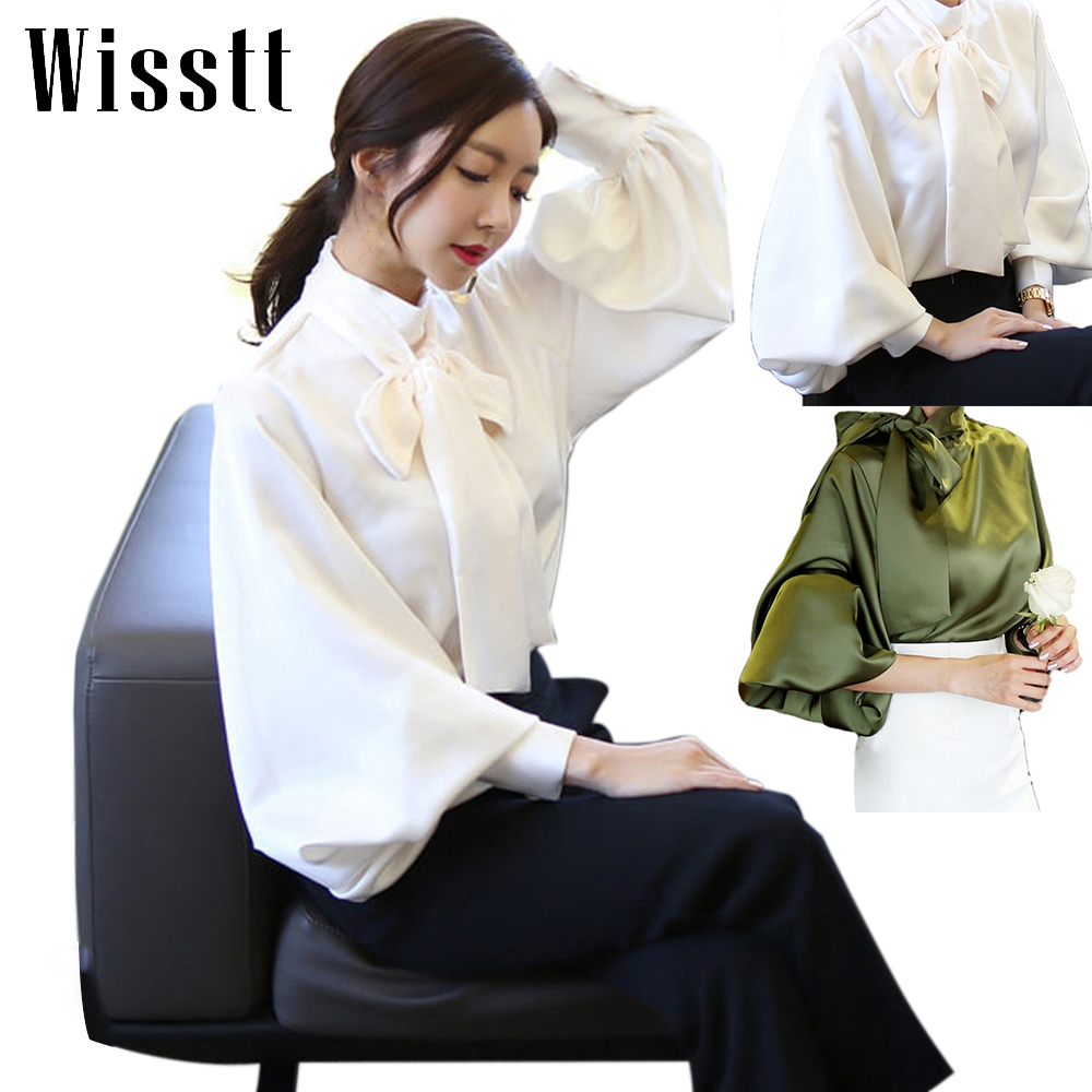 Women sweet bow tie neck ruffles chiffon shirts pleated pearls long sleeve loose blouse ladies casual tops petal sleeve self tie blouse