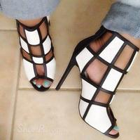 Fashion Sandals Black White Mixed Color High Heels Shoes Woman Gladiator Huarache Open Toe Chaussure Femme Dress Booties