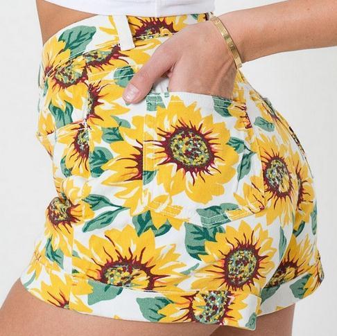 New Summer Denim Sunflower Print High Waist   Jean   Shorts Ladies Short pants