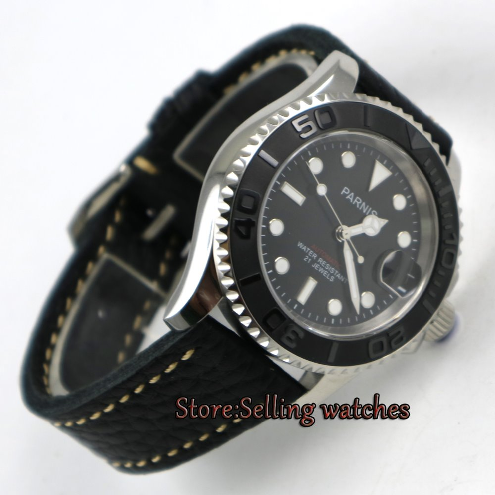 41mm Parnis black dial Sapphire glass Ceramic bezel miyota automatic mens watch 41mm corgeut black dial sapphire glass miyota automatic movement mens watch c03