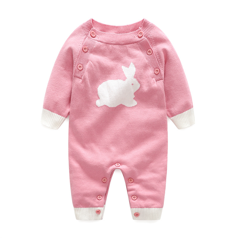 Baby Romper Knitting Wool Sweater for Boy Girls Rabbit Pattern Infant Jumpsuit Soft Toddler Winter Romper Newborn Clothes